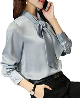 Women's Pullover Office Work Long Sleeve Bow Tie Blouse Shirt Tops Red X-Small