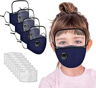 4PCs Kids Face_Mask with Valve and 8 Filters, Washable Reusable Face_Cover with Detachable Eye Shield for Children
