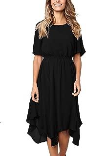 Women's Short Sleeve Midi Dress Empire Waist Summer Chiffon Dress Round Neck Asymmetrical Irregular Hem Dress