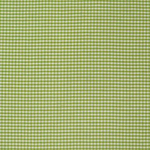 Dekostoff Dobby Landhausstoff Karostoff Meterware kariert apfelgrün weiß 1,40m breit