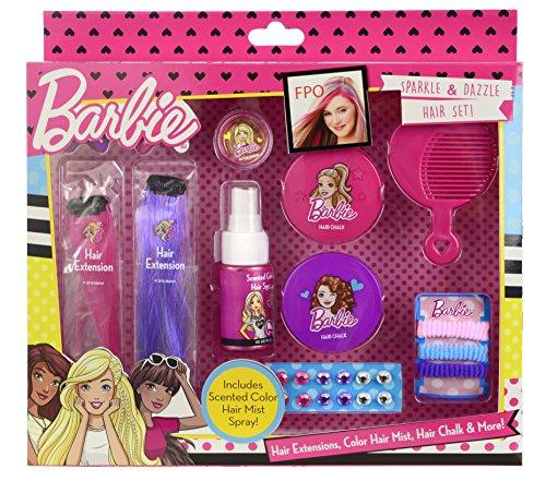 Funkelndes 13-teiliges Barbie Haar-Set – bunte Haarsträhnen, farbiges und duftendes Haarspray, Haarspangen, trendige Haar-Kreide