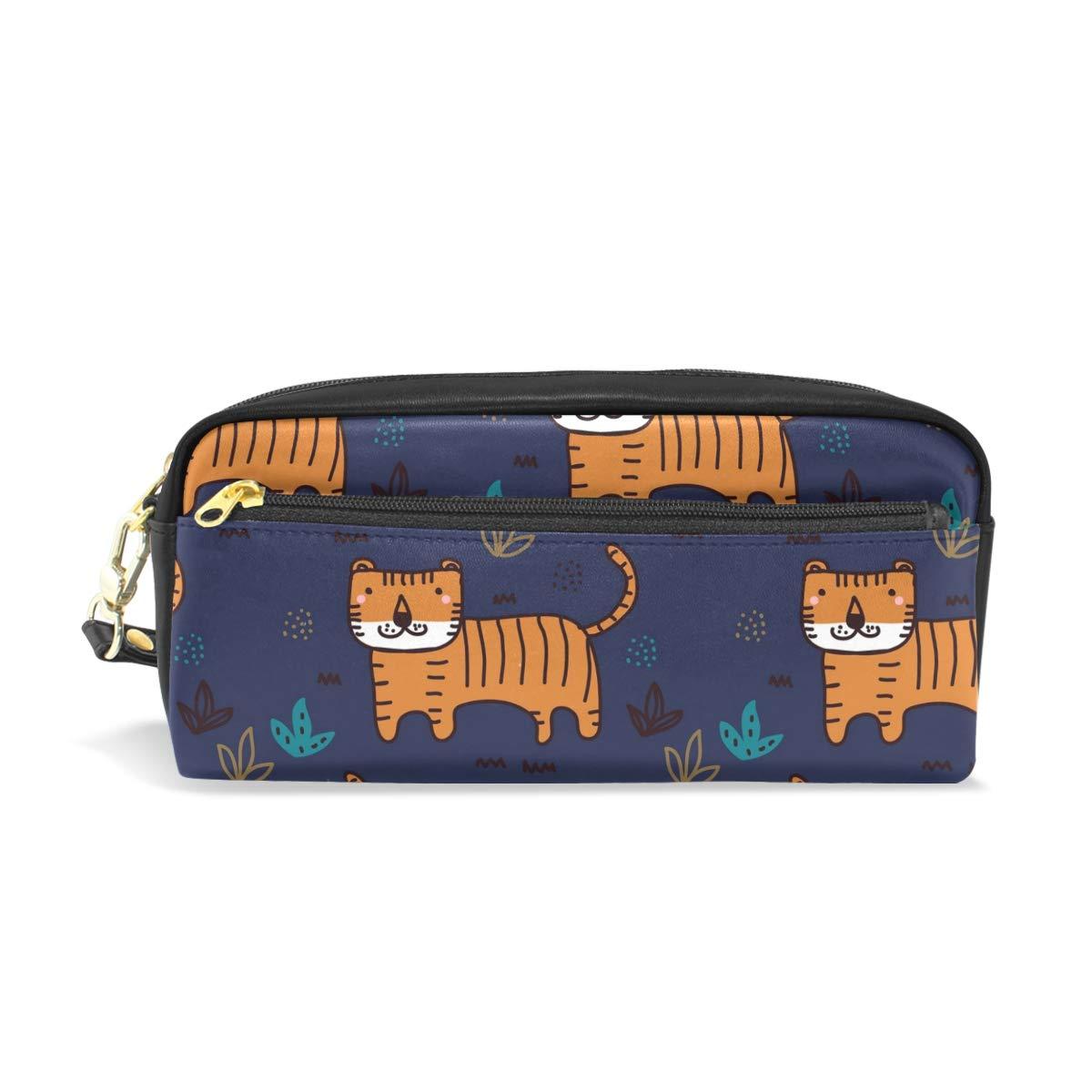 Tiger - Estuche de piel sintética para lápices, color azul marino: Amazon.es: Oficina y papelería