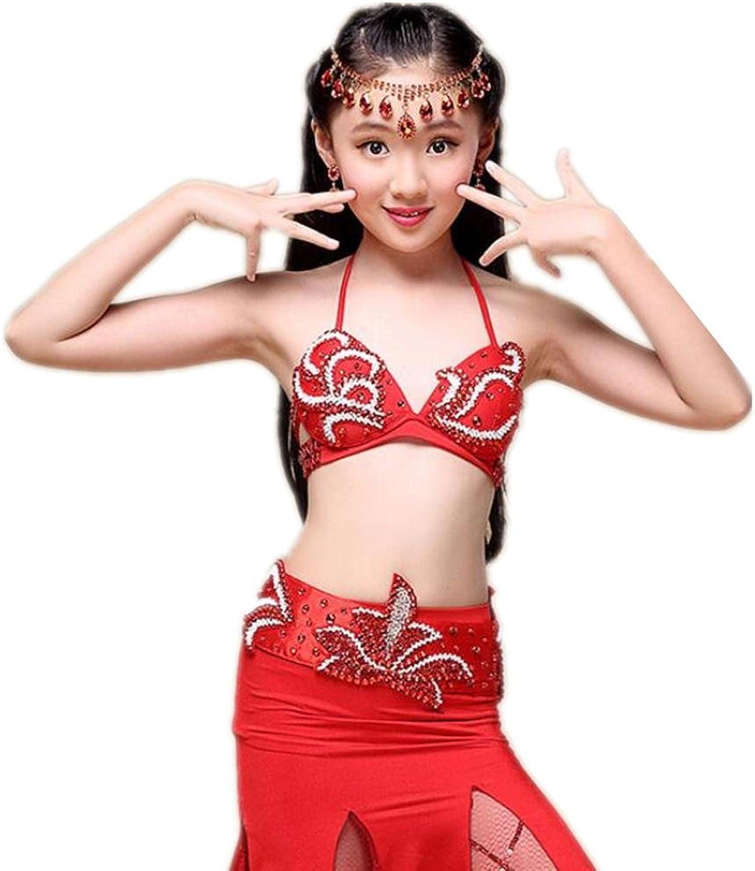 Wgwioo Kinder Bauch Tanz Set Indien Mädchen Tüll Glasperlen Stickerei Handgefertigte Diamant Sequins MultiFarbe Kleidung Kostüm Moderne Kinder Party Prinzessin Professional Performance B06Y4PSXHY  Zart