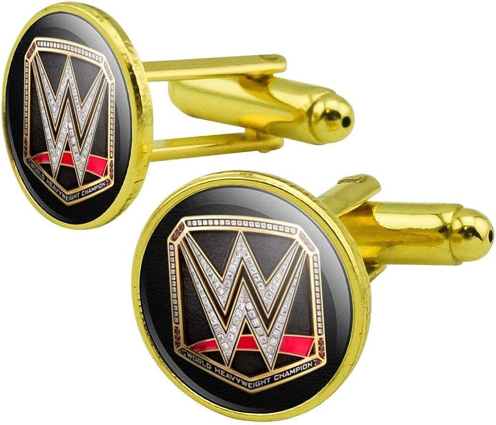 GRAPHICS & MORE WWE World Heavyweight Champion Title Logo Round Cufflink Set Gold Color