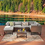 Festival Depot 7 Pieces Patio Outdoor Furniture Conversation Sets Sectional Corner Sofa with Wicker Chairs, Ottoman, Coffee Table and Seating Thick Soft Cushion(Grey)