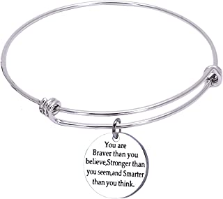 You are Braver Than You Believe Stainless Steel Adjustable Charm Bangle Bracelets for Women