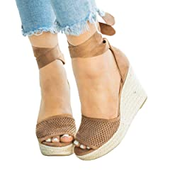 dfffef029fff Fashare Womens Open Toe Tie Lace Up Espadrille Platform Wedge .