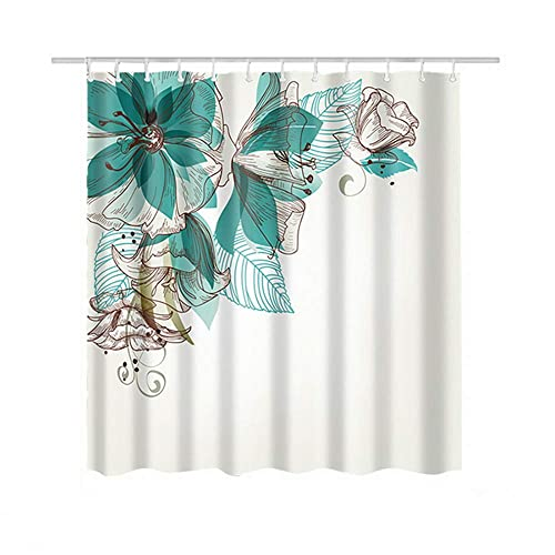 Turquoise Fabric Shower Curtain For Women Ladies Girls Waterproof Mildew Resistant Flower 71x71 Inches
