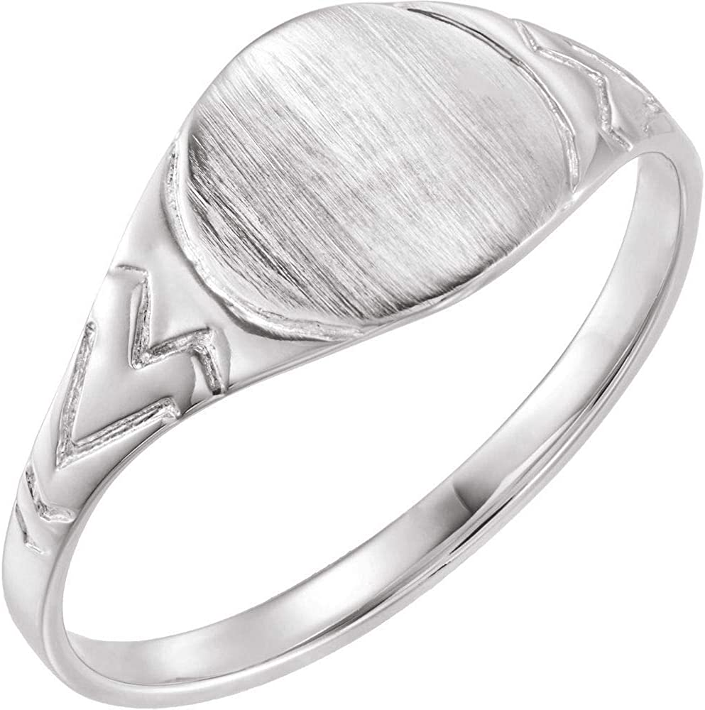 14k White Gold 6mm 4 years warranty Youth 3 Free shipping Size Signet Ring