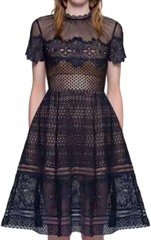 GAGA Women's Sexy Hollow Lace Aline Dress