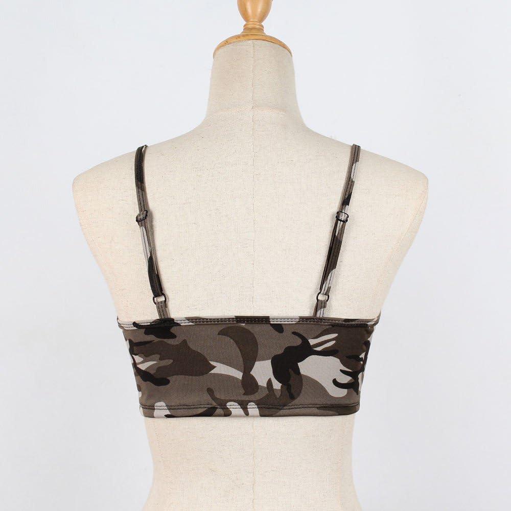 MASZONE Women's Sexy Camo Crop Tops Bra Spaghetti Strap Camouflage Sleeveless Cami Tank Tops Corset Camisole Shirts