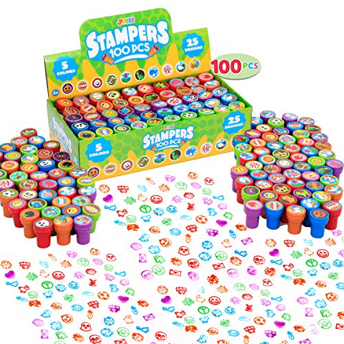 100 Pcs Assorted Stamps for Kids Self-ink Stamps (50 DIFFERENT Designs, Plastic Stamps, Emoji Stampers, Dinosaur Stampers, Zoo Safari Stampers) for Easter Egg Stuffers, Party Favor, Teacher Stamps