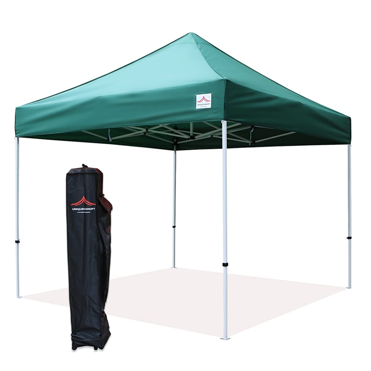 UNIQUECANOPY 10x10 Ez Pop up Canopy Tents for Parties Outdoor Portable Instant Folded Commercial Popup Shelter, with Wheeled Carrying Bag Dark Green