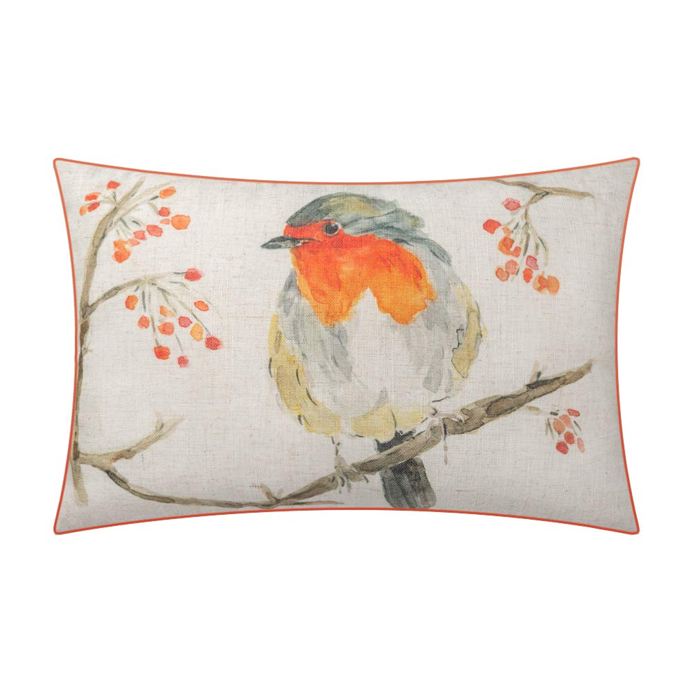 Jwh Christmas Print Accent Pillow Case Decorative Cushion Cover Linen Pillowcase Piping Sham Home Bed Living Room Children Bedding Gift Cute Orange Bird On Branch 12 X 18 Inch Buy Online In