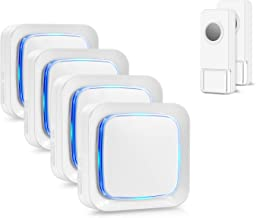 Wireless Doorbell Kit, Coolqiya Door Bell Chime with 2 Waterproof Transmitters and 4 Plug-in Receivers for Home 52 Ringtones