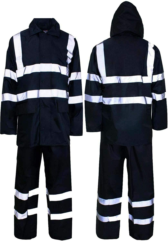 Hi Fashionz Marineblau mit Kapuze Puddle Regenanzug wasserdichte Herren Damen PVC Arbeit Regen Kleidung Regenanzug Marine