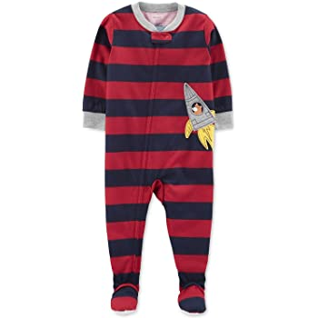 Carter/'s Boy/'s Navy Striped Grizzly Bear Cotton Footed Pajama Sleeper Size 3T