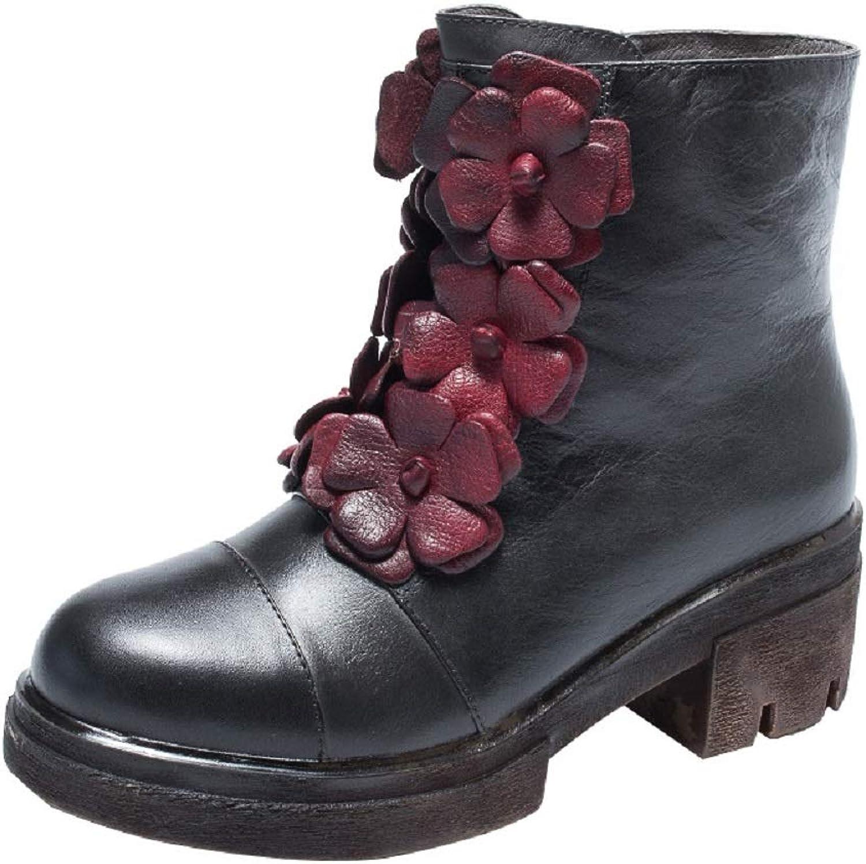 LingGT LingGT LingGT Flower läder kvinnor stövlar Zipper Comfort Soft Block skor (färg  Grå, Storlek  CA 9)  grossist billig
