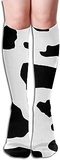 GYHJH, Calcetines hasta la rodilla para mujer Estampado de vaca Ciclismo Viajes Fútbol Niñas Vestidos de pierna Pantalón de punto Bota larga Medias