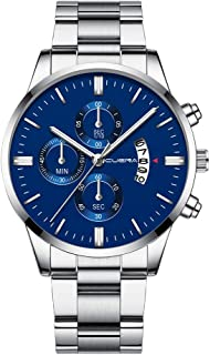 Lakhum Men Gold-Toned Chronograph Quartz Watch Fashion Military Stainless Steel Waterproof Analog Digital Wristwatch