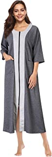 Women's Zipper Robe Half Sleeve Loungewear Full Length Nightgown Housecoat