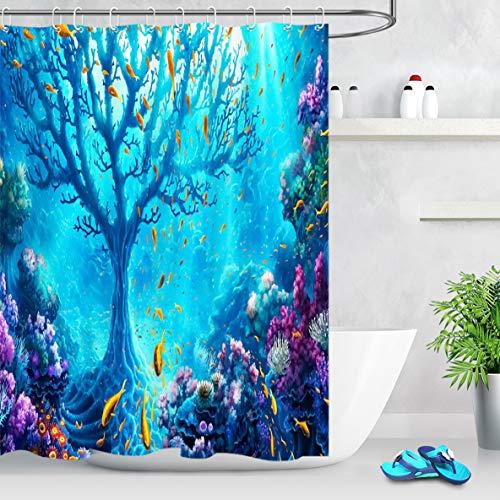 LB Duschvorhang Blaues Meer 150x180cm Korallengoldfisch unter der Tiefsee Bad Vorhang mit Haken Polyester Wasserdicht Antischimmel Badezimmer Vorhänge