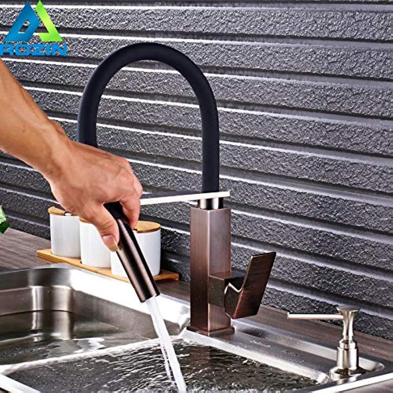 CZOOR Bad Küchenarmatur Einhebel Deck Montiert Flexible Schwarze Pfeife mit Halterung Küchenmischer Kranhhne + Seifenspender