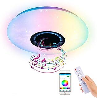 AEUWIER Luz de techo a todo color con Bluetooth, lámpara de techo LED moderna, delgada y elegante con 60W regulable, música moderna, luces de fiesta familiar con cambio de color RGB de 36 cm