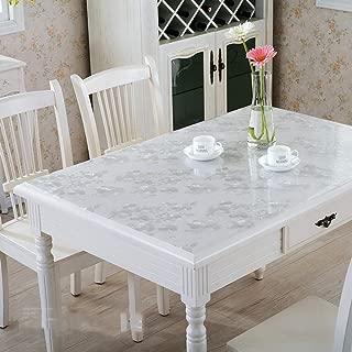 CFWL Estera de Mesa Suave Impermeable Impresa Color Transparente Mantel de PVC Flor de Plata 80 * 150 manteles Algodon manteles Algodon Mesa Rectangular