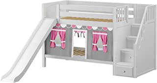 Maxtrix Solid Hardwood Twin/Twin Low Bunk Bed with Storage Staircase Entry, Slide, and Low Bunk Curtains, White Finish, Pink, White, and Gray Fabric