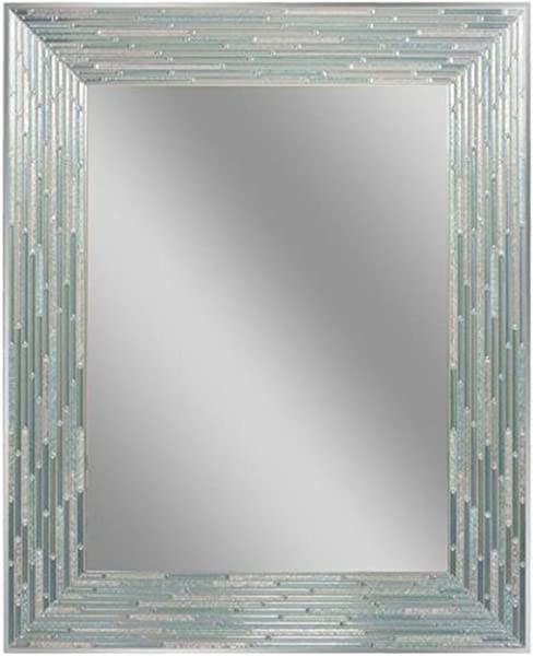 Headwest Reeded Sea Glass Wall Mirror 24 Inches By 30 Inches 24 X 30