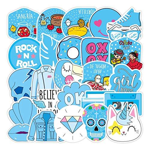 SUNYU 73 Uds Pegatinas Azules de Dibujos Animados Frescos 2-3,2 Pulgadas Impermeable Reutilizable Equipaje portátil Scooter Ordenador Taza de Agua Pegatina de Juguete