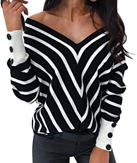 OTW Women Cold Shoulder Sexy Top V Neck Striped Long Sleeve Tee Shirts Blouse Top
