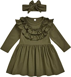 CM C&M WODRO Toddler Baby Girls Clothes Dresses Outfits Cute Ruffle Princess Party Tutu Bowknot Dress (Army Green, 1-2T(Si...
