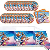 Basketball Party Supplies Space Themed Birthday Party Decorations Set for Kids Adults Include Basketball Plates, Napkins and Tablecloths 41pcs
