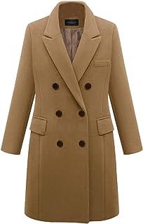 chouyatou Women s Basic Designed Notch Lapel Double Breasted Mid-Long Wool  Pea Coat 9ec65450a