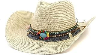 SXQ Summer Men's Women's Straw Hat Casual Denim Sunproof Western Cowboy Hat Fedora Hat Outdoor Travelling Beach Sun Hat With Turquoise Decoration Gentlemen's Hat UV Protective Visor Cowgirl Hat For Vo