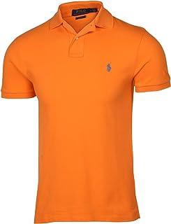 Slim Fit Pique Mesh Polo Shirt (Small, Orange (Blue Pony))