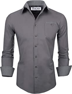 Tom's Ware Men's Slim Fit Long Sleeve with Checkered Buttons Shirts