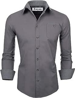 Men's Classic Slim Fit Contrast Inner Long Sleeve Dress Shirts