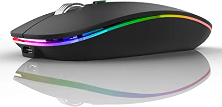 LED Wireless Mouse, Uiosmuph G12 Slim Rechargeable Wireless Silent Mouse, 2.4G Portable USB Optical Wireless Computer Mice...