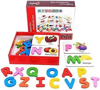 PECC Vegetable Alphabet Cards,Wooden Alphabet Blocks Toys Learning Fruit Vegetable ABC Alphabet Toys for Toddlers/Kids/ 3 ,4,5Year Old