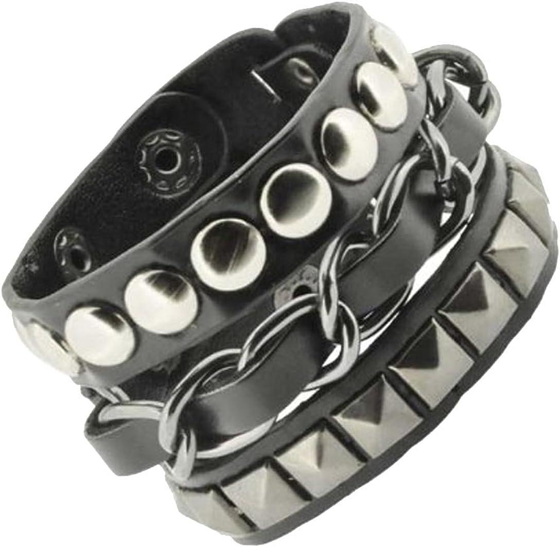 Mandala Crafts Leather Biker Bracelet for Men Women - Punk Bracelet for Men Women - Black Gothic Bracelet Layered Punk Studded Bracelet with Metal Chain