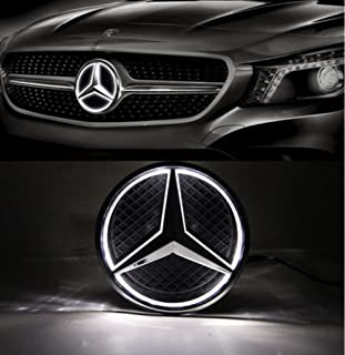 Cszlove Car Front Grilled Star Emblem LED Illuminated Logo for Mercedes Benz 2010-2013 A B C E S GLK ML Class Center Front Badge Lamp Light White