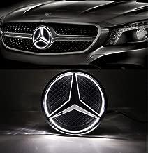 Cszlove Car Front Grilled Star Emblem LED Illuminated Logo for Mercedes Benz 2010-2013 A B C E S GLK ML Class Center Front Badge Lamp Light White
