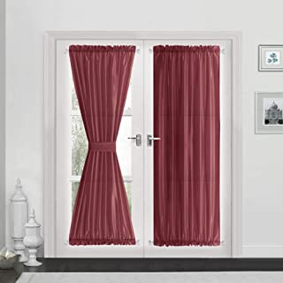 Vangao Rod Poket Curtains 72 inch Length Faux Silk Burgundy French Door Panel Satin Privacy French Door Drapes, 2 Panels, with Bonus Tieback