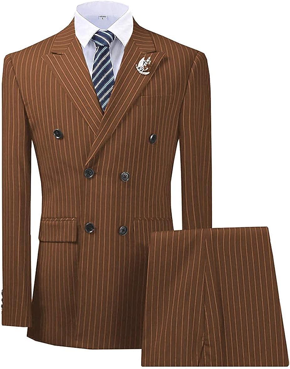 Mens 3 Piece Suit Pinstripe Slim Fit Wedding Groomman Bussiness Notched Lapel Dress Blazer Vest Trousers Set Tuxedos