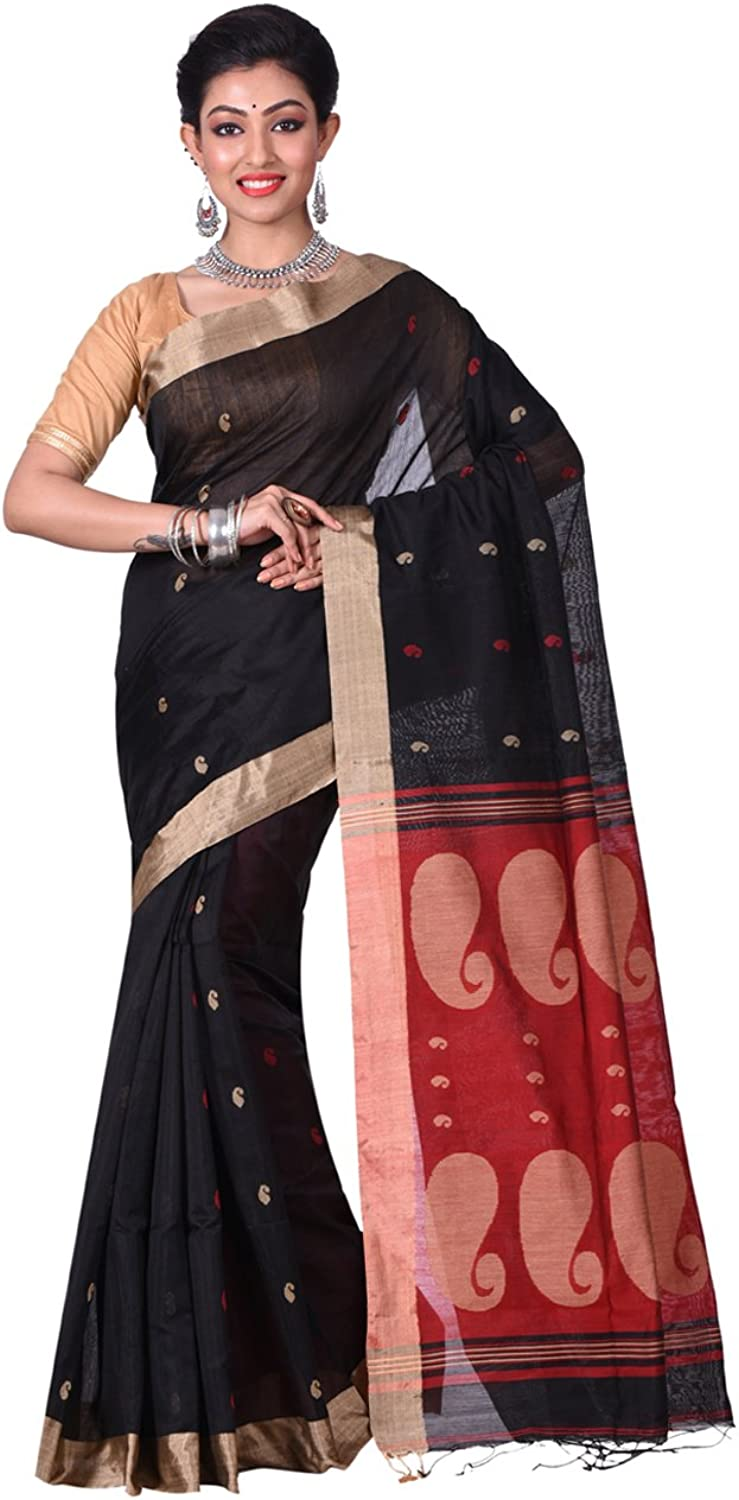 Exclusive Indian Ethnicwear Matka Silk Black and Red Coloured Bengal Handloom Saree