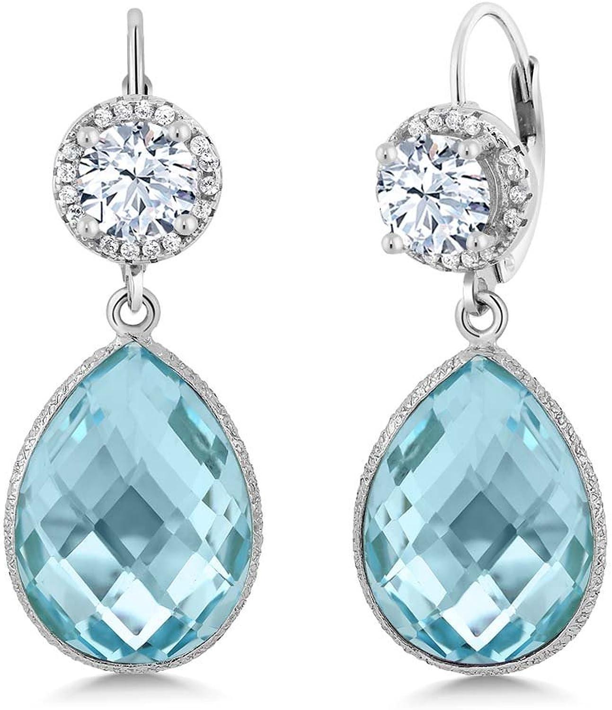 1.68 Ct Round White Zirconia Swiss bluee Topaz 925 Sterling Silver Earrings