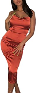 Women's Sexy Spaghetti Strap Backless Lace up Bodycon Party Dress